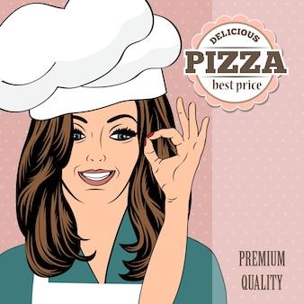 Banners publicitários pizza com uma senhora bonita