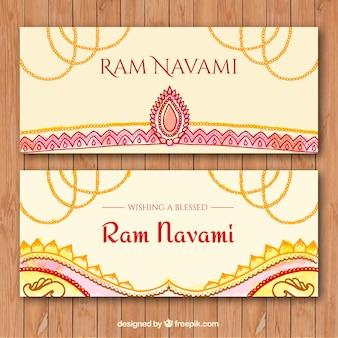 Banners Ram Navami em design abstrato