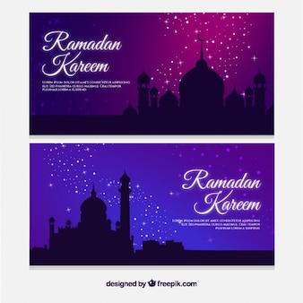 Banners Ramadan brilhantes com mesquitas