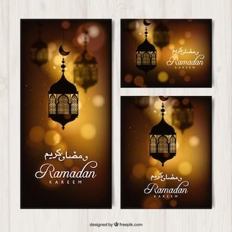 Banners Ramadan com efeito bokeh