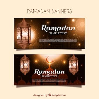 Banners Ramadan dourados com lanternas