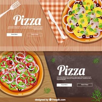 Banners realistas para a pizza