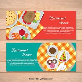 Banners restaurante com pratos saborosos e sobremesas