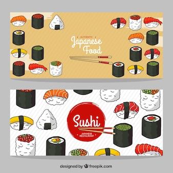 Banners restaurante listradas com saboroso sushi