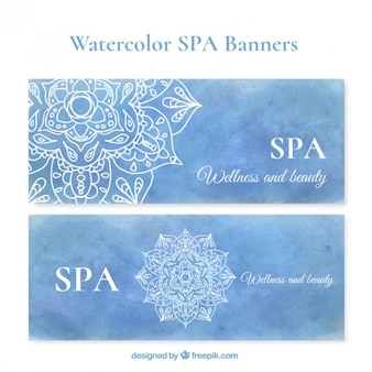 Banners spa aguarela azul