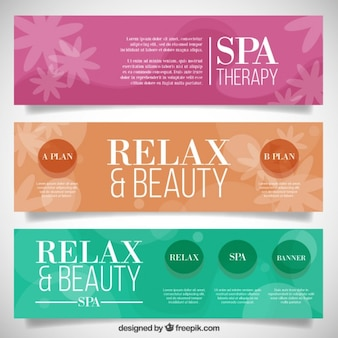 Banners spa floral colorido