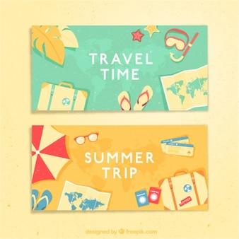 banners tempo de férias com elementos