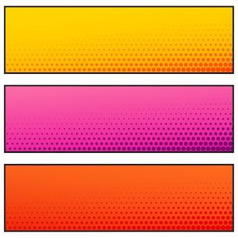 Banners vazios de cor brilhante com efeito de meio-tom