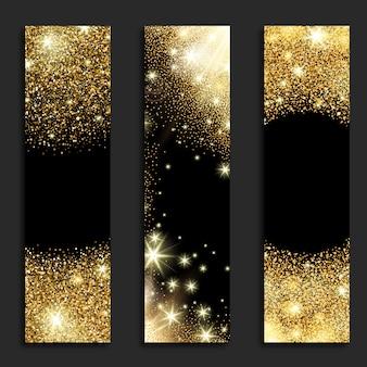 Banners verticais brilhantes dourados