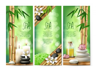 Banners vetoriais para tratamentos de spa com sal aromático, óleo de massagem, velas.