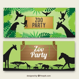 Banners zoológico com animais selvagens silhuetas