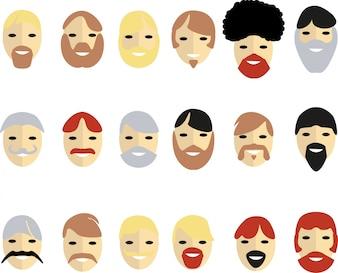 Barbas masculinas e bigodes