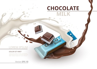 Barra de chocolate com leite realista Mock up Vector design de etiquetas. Splash e gotas de chocolate fundo