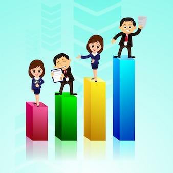 Barras estatísticas em 3D com pessoas de negócios.