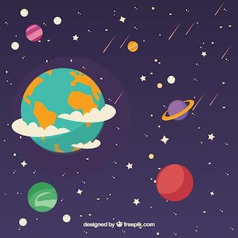 Bastante plano de terra e planetas