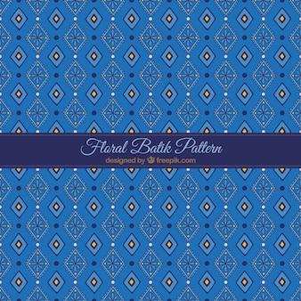 Batik azul do teste padrão floral