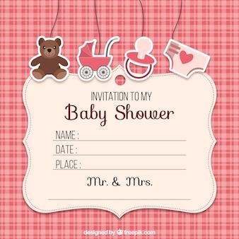 Bebê chuveiro convite com elementos