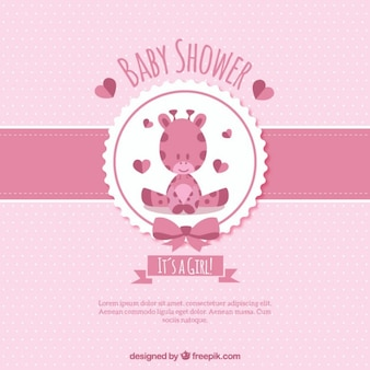 Bebê encantador cartão girafa cor de rosa