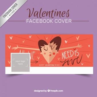 Beijar a mão desenhada tampa casal facebook