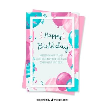 Bela saudação de aniversário com balões de aquarela