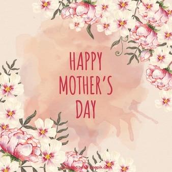 Belas flores cartão de dia das mães com respingo