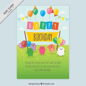 belo cartão de aniversário com caráteres desenhados mão