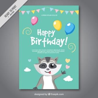 belo cartão de aniversário com um guaxinim