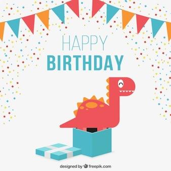 Belo cartão de aniversário com uma bela dinossauro