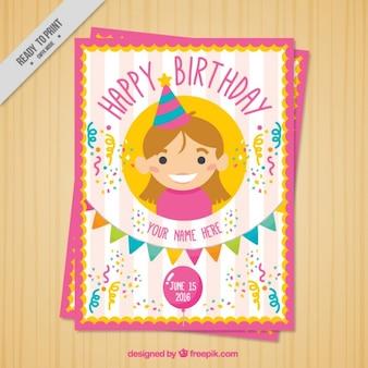 belo cartão de aniversário com uma menina