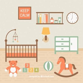 Belo quarto do bebê com os brinquedos no chão