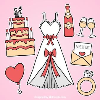 Belo vestido de noiva com outros elementos decorativos