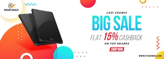 Big Sale social media banner com smartphones.