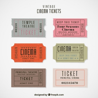 Bilhetes de cinema do vintage