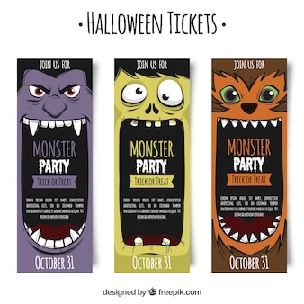 Bilhetes de Halloween com monstros