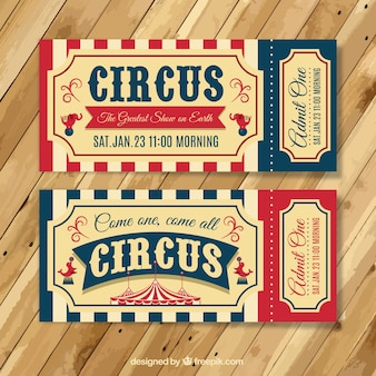 Bilhetes do circo do vintage