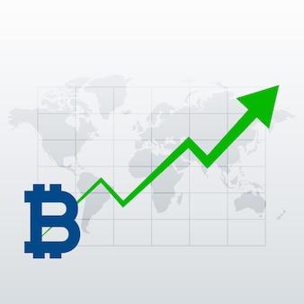 Bitcoins vector de gráfico de crescimento de tendência ascendente