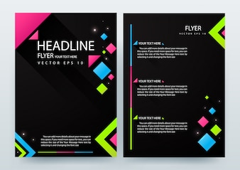 Black A4 Brochure Layout template com elemento geométrico