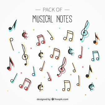 Bloco de notas musicais com cor