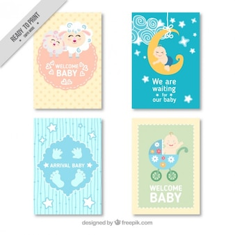 Bloco de quatro cartões bonitos do chuveiro de bebê