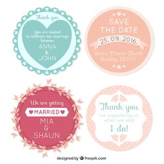 Bloco de quatro decorativos etiquetas do casamento