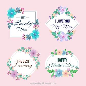 Bloco de quatro etiquetas decorativas com flores coloridas