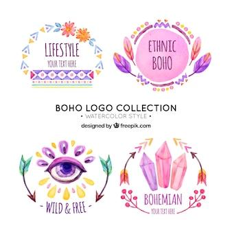 Bloco de quatro logotipos étnicos pintados com aguarela