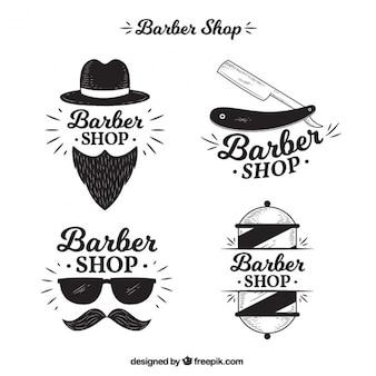 Bloco de quatro logotipos para barbearia