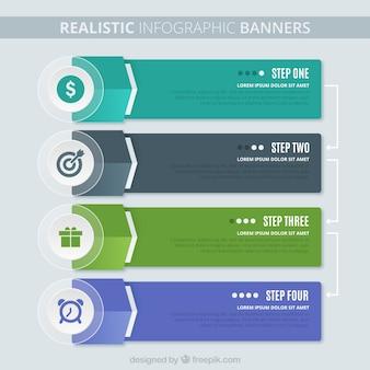 Bloco de quatro opções infográfico realistas