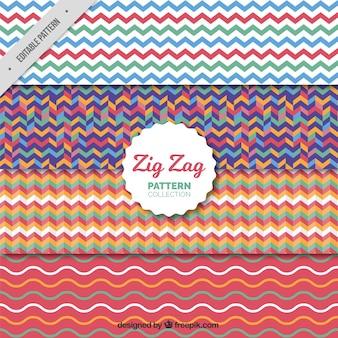Bloco de quatro padrões de ziguezague colorido