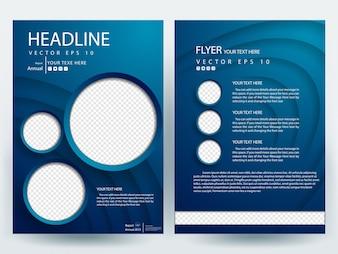 Blue A4 Brochure Layout template com marcador de posição de círculo