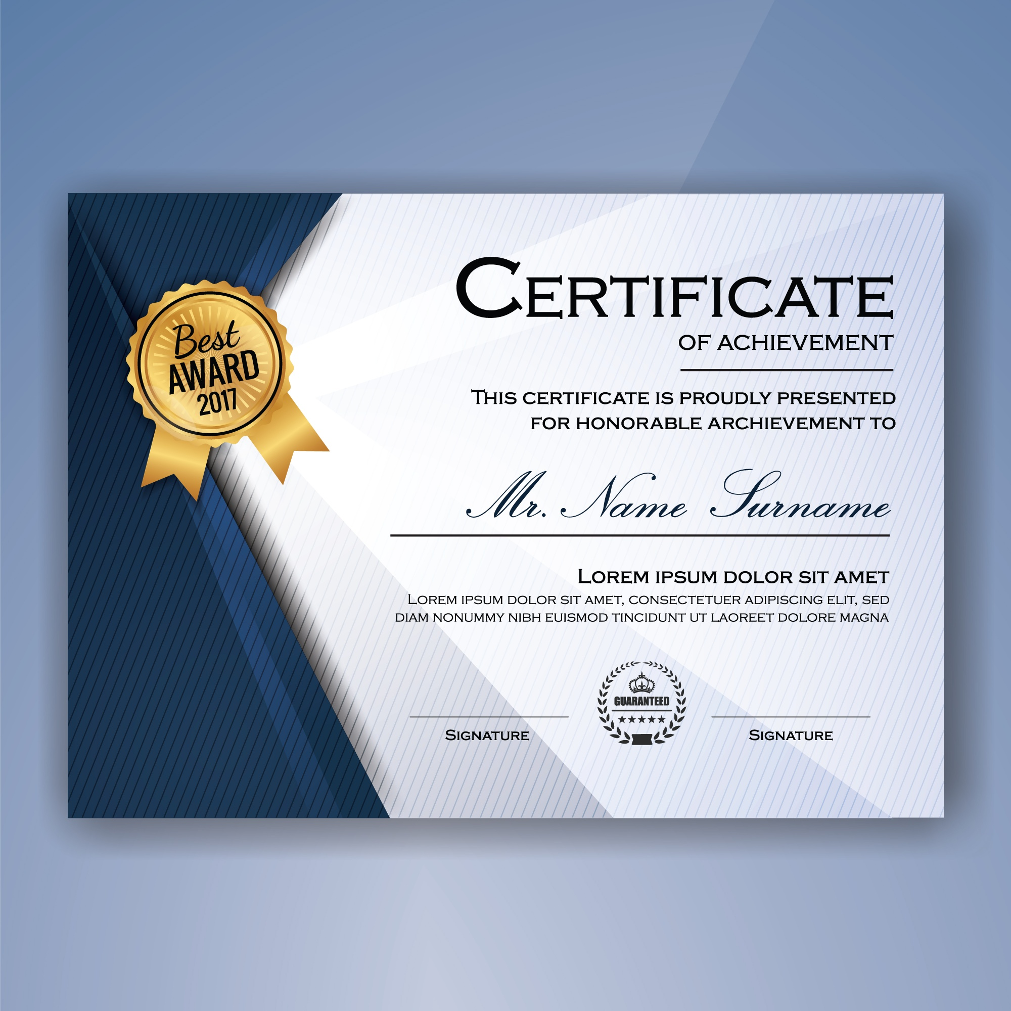 Blue and white elegant certificate of achievement template background