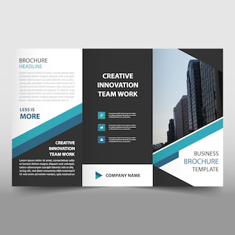 Blue business trifold Folheto Folheto Flyer template