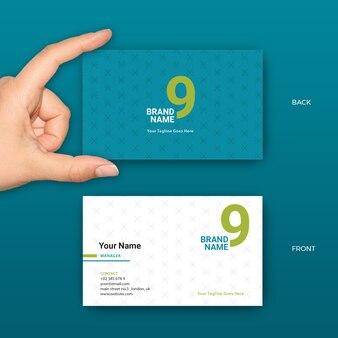 Blue Minimalist Business Card Vector Template para gerente, empresa, startup, empresa ou profissional
