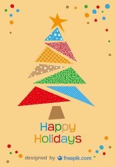 Boas festas cartão da árvore de Natal colorida